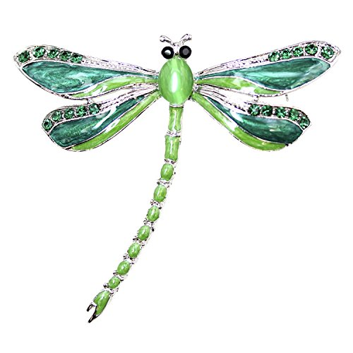 Emerald Green Rhinestone Pin (Faship Gorgeous Big Dragonfly Pin Brooch (Emerald Color Green))