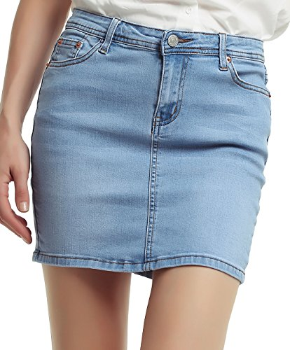 chouyatou Women's Casual Short Denim Skirt (X-Large, Light Blue)