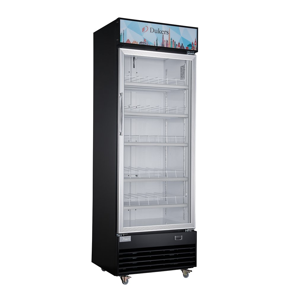 Dukers Appliance USA DUK600162378049 Dukers Single GLASS Door Black Merchandiser Refrigerator - 15 Cu.'., Stainless steel