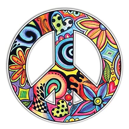 Peace sign sticker colorful hippie decal by megan j designs laptop car vinyl tumbler sticker