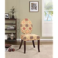 Kings Brand Furniture Accent Chair, Multi Color Fabric / Dark Cherry Legs