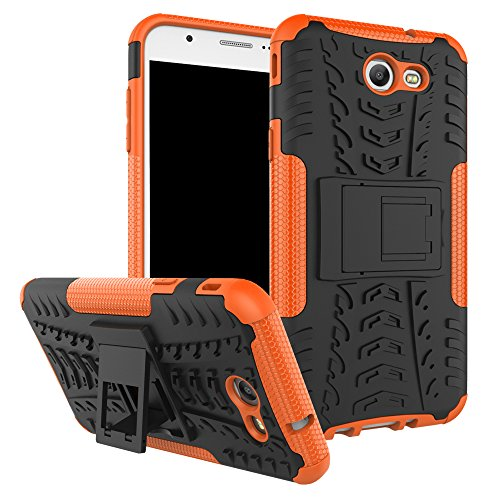 Galaxy J7 V Case, Galaxy J7 Prime, Galaxy Halo, Galaxy J7 Perx, Galaxy J7 Sky Pro, Galaxy J7 2017, KMISS Hybrid Heavy Duty Armor Protection Cover [Anti Slip] [Built-In Kickstand] Skin Case (Orange)