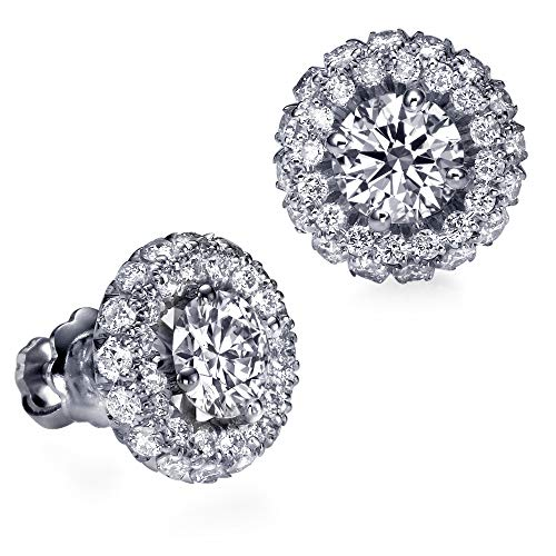 Christmas Gift Sale 1.20 CT G IF Double Halo Diamond Stud Earrings 14K White Gold 34949265 from Rothem Collection