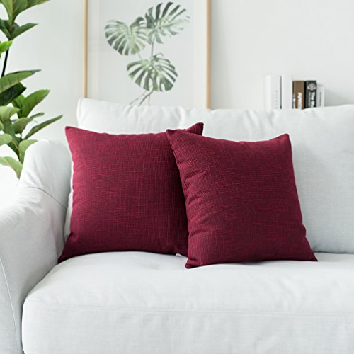 Kevin Textile Supersoft Faux Linen Square Throw Cushion Cover Pillowcase, Hidden Zipper, 18x18 inch(2 Piece, Sangria Red)