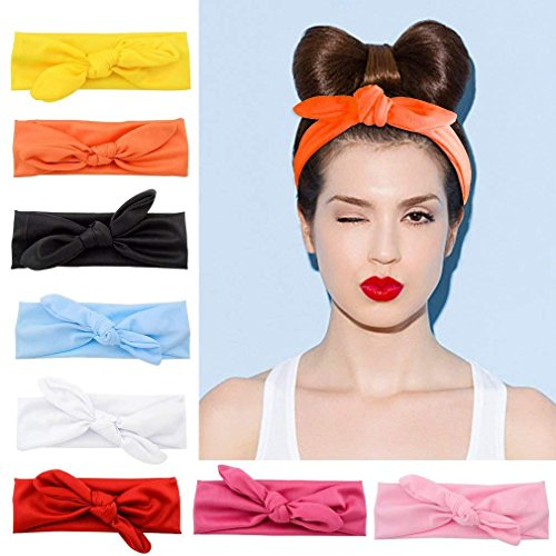 TOBATOBA Women Headbands 8 Pack Turban Headwraps Hair Band Bows Accessories for Fashion and Sports, 8 Colors