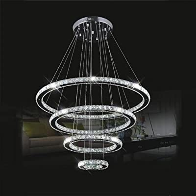 LightInTheBox LED Crystal Chandelier Lihting Transparent Crystal Round 4 Rings 20CM Plus 40CM Plus 60CM Plus 80CM Lamps Fixtures
