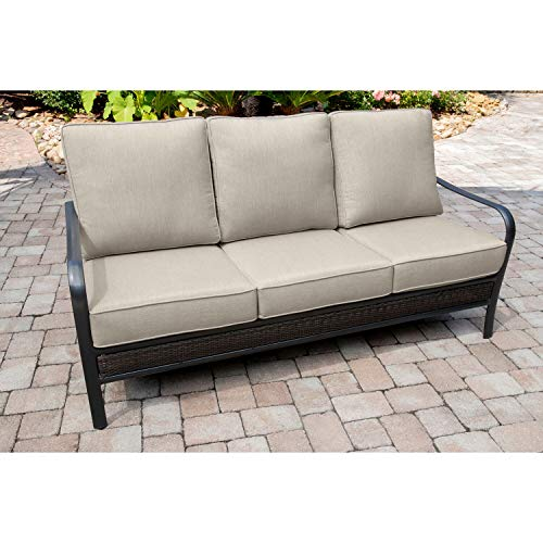 Hanover Oakmont Grade Aluminum/Woven Sofa with Plush Sunbrella Cushions, OAKSOFA-ASH Commercial Outdoor Furniture