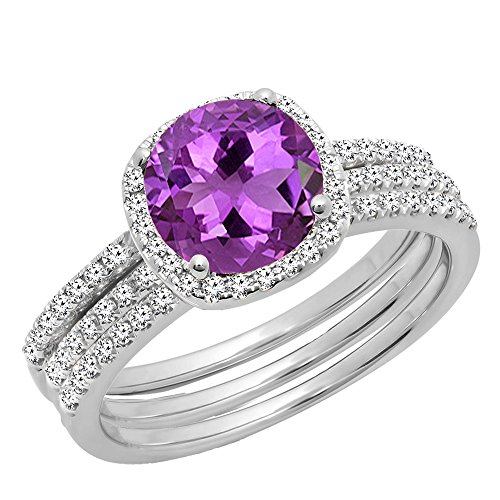 (Dazzlingrock Collection 10K 6 MM Round Amethyst & Diamond Ladies Halo Ring With Double Band Set, White Gold, Size 7)