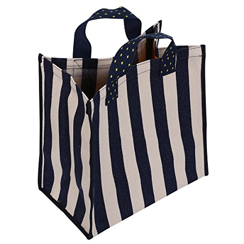 KangFa Reusable Grocery Bags Stylish Casual Canvas Shopping Tote Bag for Women (Blue/White Stripe)