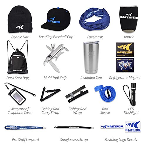 KastKing Inner Circle Fishing Fan Club Fishing Gear Combo Includes Back Sack Bag, Baseball Cap, Rod Sleeve, Rod Carry Strap, LED Flashlight, Insulated Cup plus More Fishing Gear - Over - Company Sunglasses Biggest