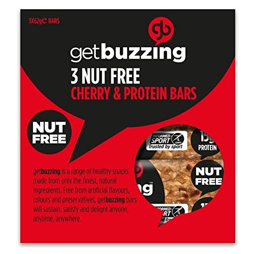 - Getbuzzing Nut Free Cherry Protein Bars 3 x 62g