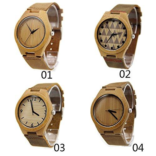 &ZHOU relojes de los hombres natural madera bambú correa de cuero ocio negocio regalos portátiles accesorios , 04 thick needle
