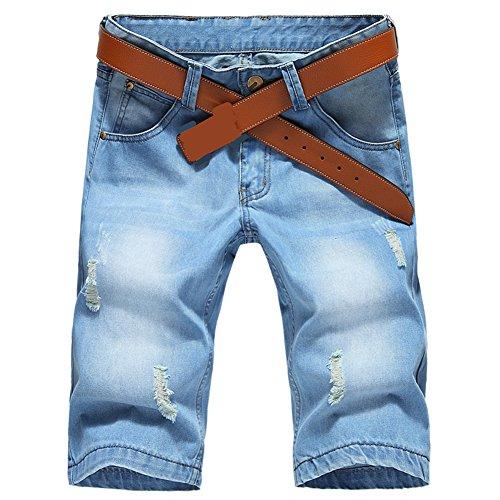 SITENG Fashion Men's Summer Light Weight Sky Blue Jean Shorts Brush Denim Capris Short (32, Sky Blue)