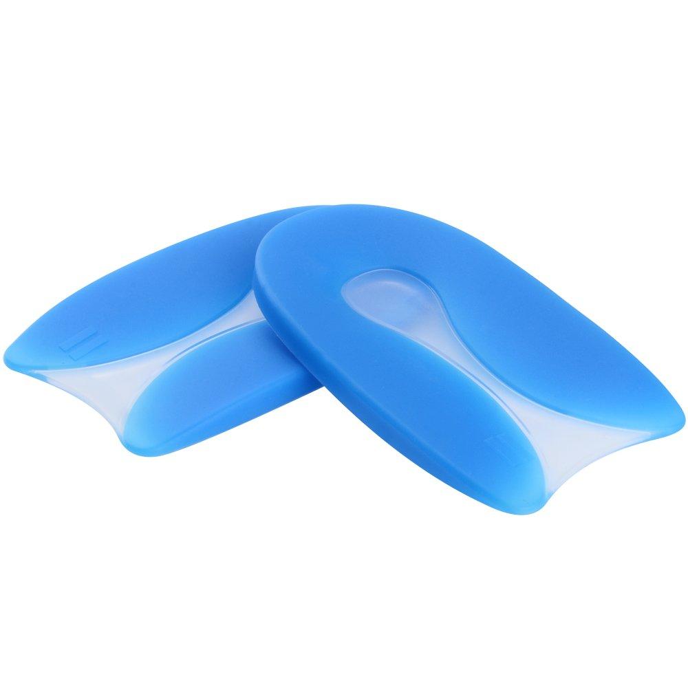 Antid/érapant Semelle Talon en Silicone Gel Soumit Ultra /Élastique Coussinets Talon pour Douleur Soulagement Antibact/érien Flexible U-forme Semelles Bleu
