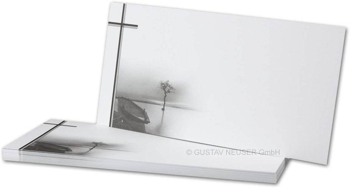 /Bateaux avec kahlem coton////mat////21/x 9,8/cm////carte////simplement Carte de Condol/éances dl Wei/ß Casque de cartes simples s/érie Fried deuil/