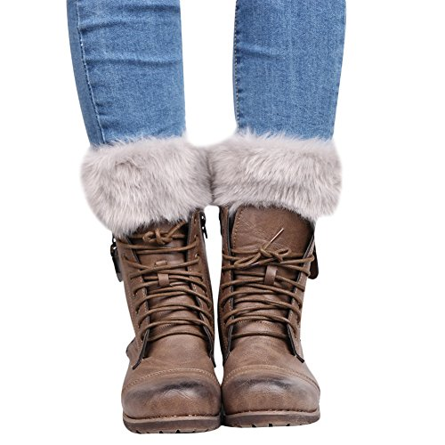 Skinny Leg Boots For Women Crochet Knitted Leggings Warmers Faux Fur Trim Cuffs Topper Boots Socks, Grey, One ()
