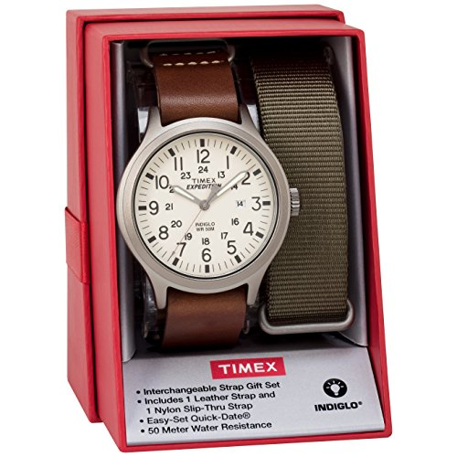 Timex Men's TWG016100 Expedition Scout 43 Brown Leather Slip-Thru Strap Watch Gift Set + Olive Nylon (Expedition Olive)