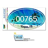 Graphics and More Zip Code 00765 Vieques, PR Euro Oval Window Bumper Glossy Laminated Sticker - Tropical Beach