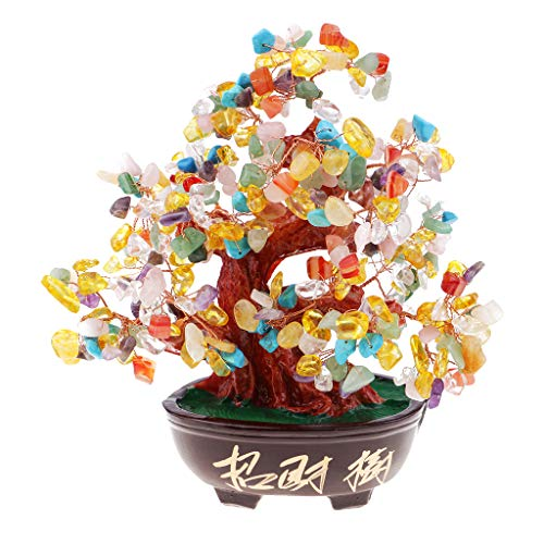 Flameer Gemstone Crystal Bonsai Fortune Money Tree Ornament Home Office Decoration -
