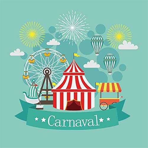 Laeacco Carnival Party Backdrop 10x10ft Vinyl Cartoon Funfair Circus Tent Fire Balloons Ferris Wheel Ice Cream Boat Fireworks Mint Green Photography Background Baby Birthday Party Banner Cake Smash