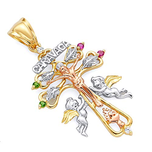 Wellingsale 14K Tri 3 Color Gold Polished Ornate Religious Christian Cross Of Caravaca Pendant with Cherub Angels and CZ Accents