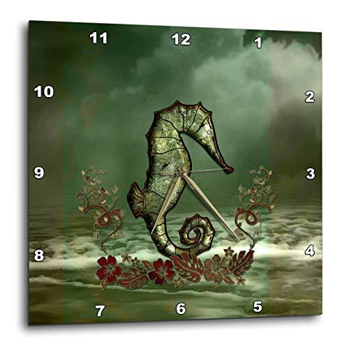 3dRose Heike Köhnen Design Fantasy - Decorative seahorse over the ocean - 13x13 Wall Clock (dpp_287320_2)