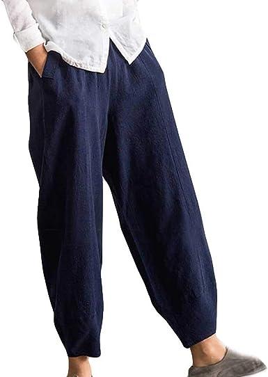 OverDose Soldes Pantalon Lin Femme à Rayures,