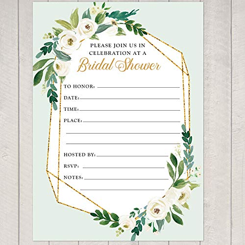 Gold Foil Look Geometric Frame Floral Shower Invitation, 10 Fill-in 5x7 inch Invite and Envelope ()