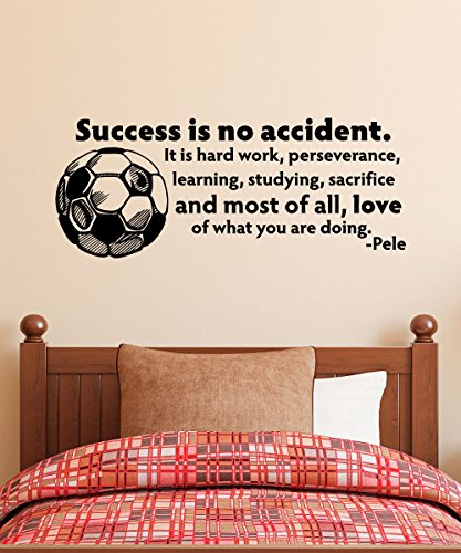 Belvedere Designs Success Is No Accident Soccer Ball Wall Quotes Decal, Black by Belvedere Designs