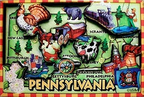 Cartoon Map - Pennsylvania Cartoon Map Fridge Magnet