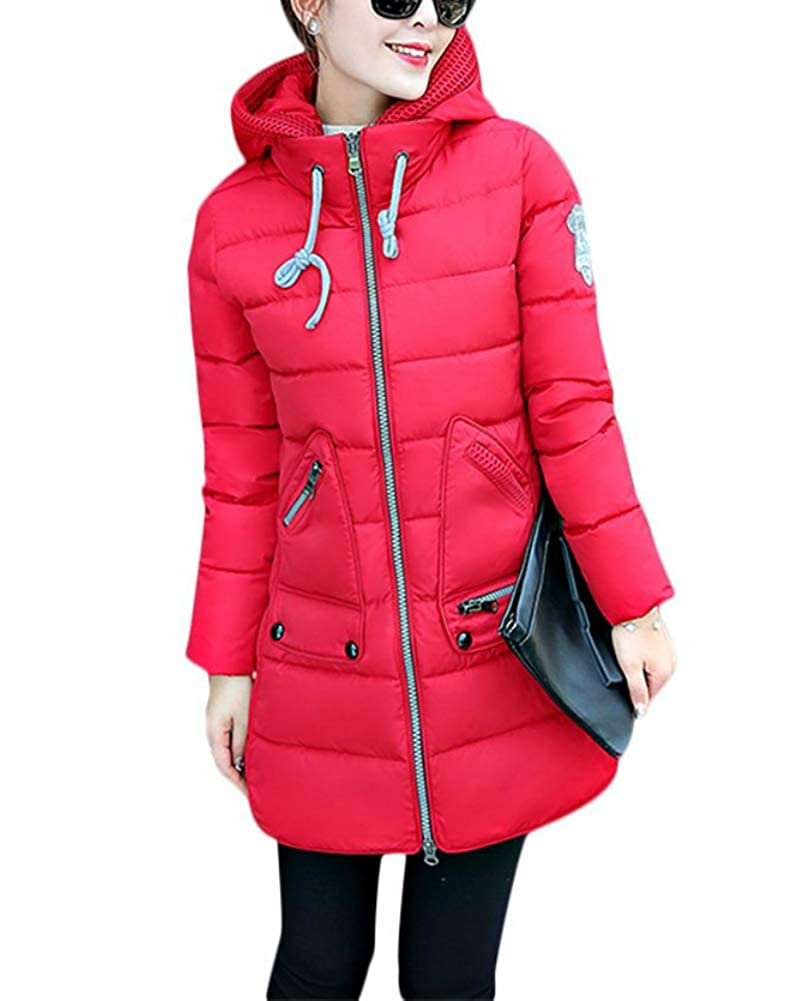 Acelyn Women's Hood Winter Coat Overcoat Long Down Parka Jacket Outwear