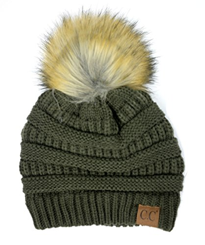 - Soft Stretch Cable Knit Ribbed Faux Fur Pom Pom Beanie Hat (Olive)
