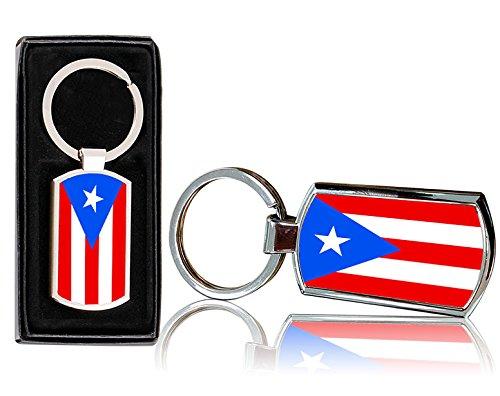 Llavero Rectangular con Dise/ño de Bandera de Puerto Rico Metal Cromado, con Caja de Regalo VVM 0059