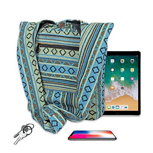 Maha Bodhi Casual Sling Cross Body Shoulder Bag Cotton Purse Hippie Boho Bohemian Handbag ~ Cyan Green