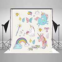 5x7ft Cotton Polyester Cartoon Unicorn Baby Birthday Party Decorations Photo Studio Background Seamless Collapsible Washable and No Creases Photography Booth Backdrop