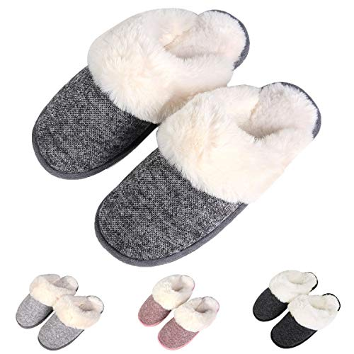 Slippers Foam Indoor Slip Memory Slippers House Non Dark Fluffy Clog Women's Warm Grey Winter Comfy Slippers Knit Fuzzy n4wzx18qBE