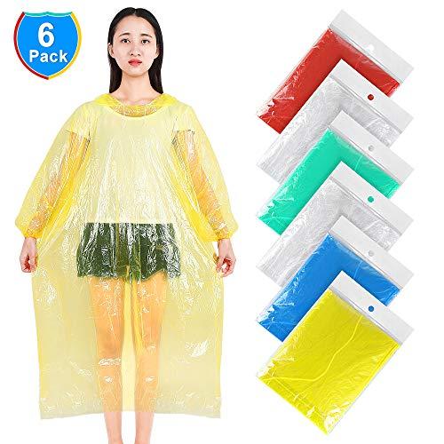 Disposable Rain Ponchos,Emergency Rain Poncho-Adults (6 Pack) 100% Waterproof