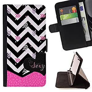 For Apple Iphone 4 / 4S Chevron Black White Zebra Pink Heart Beautiful Print Wallet Leather Case Cover With Credit Card Slots And Stand Function