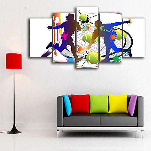 Canvas Art Tennis Abstract Sports Painting Wall Pictures Decor Framed Modular Painting for Boys Room Office Bar Party Decoration Party Framed Canvas Art