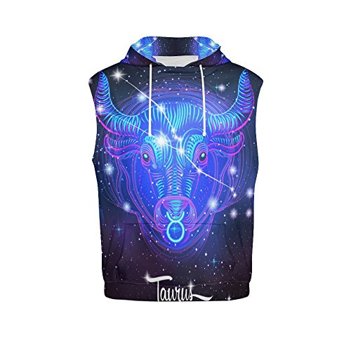 Constellation Zodiac Sign Taurus Women's 3D Printed Sleeveless Hoodie