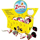 Zanies Cat Cheese Wedge Display with 60 Realistic Furry Mice, My Pet Supplies