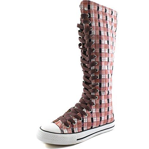 Damestas Womens Canvas Mid Kalf Lange Laarzen Casual Sneaker Punk Flat, Roze Wht Geruite Laarzen, Warme Bruine Kant