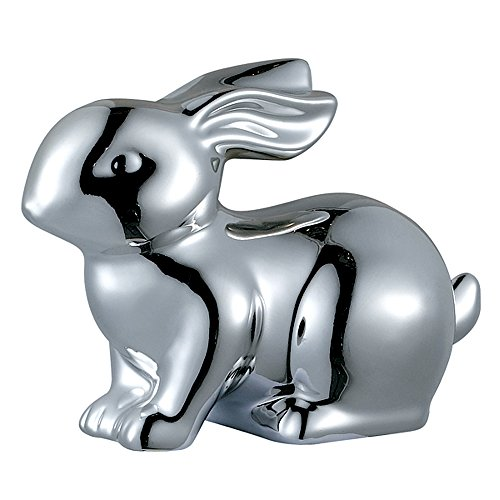 Sagebrook Home AC10286-03 Bunny Rabbit Figurine, Silver Ceramic, 5 x 2.5 x 3.5 Inches