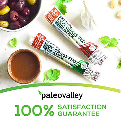 Paleovalley: 100% Grass Fed Beef Sticks - Naturally Fermented 100% Grass-Fed or Grass Finished Beef and Organic Spices - Original Flavor - 10 Count - Paleo Protein Snack - No Gluten, Soy or GMO