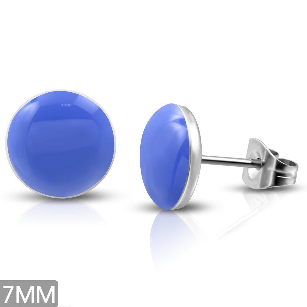 Stainless Steel 2-tone Blue Circle Stud Earrings 7mm - LEB502 pair