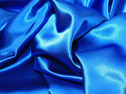 (Satin Backed Crepe Bridal Fabric Royal Blue - per metre)