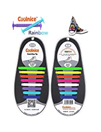 Coolnice No Tie Shoelaces Men & Women   Waterproof & Stretchy Silicone Tieless Shoe Laces   for Athletic, Sneaker, Hiking Boots, Board Shoes & Casual Shoe   Eliminate Loose Shoelace Accident