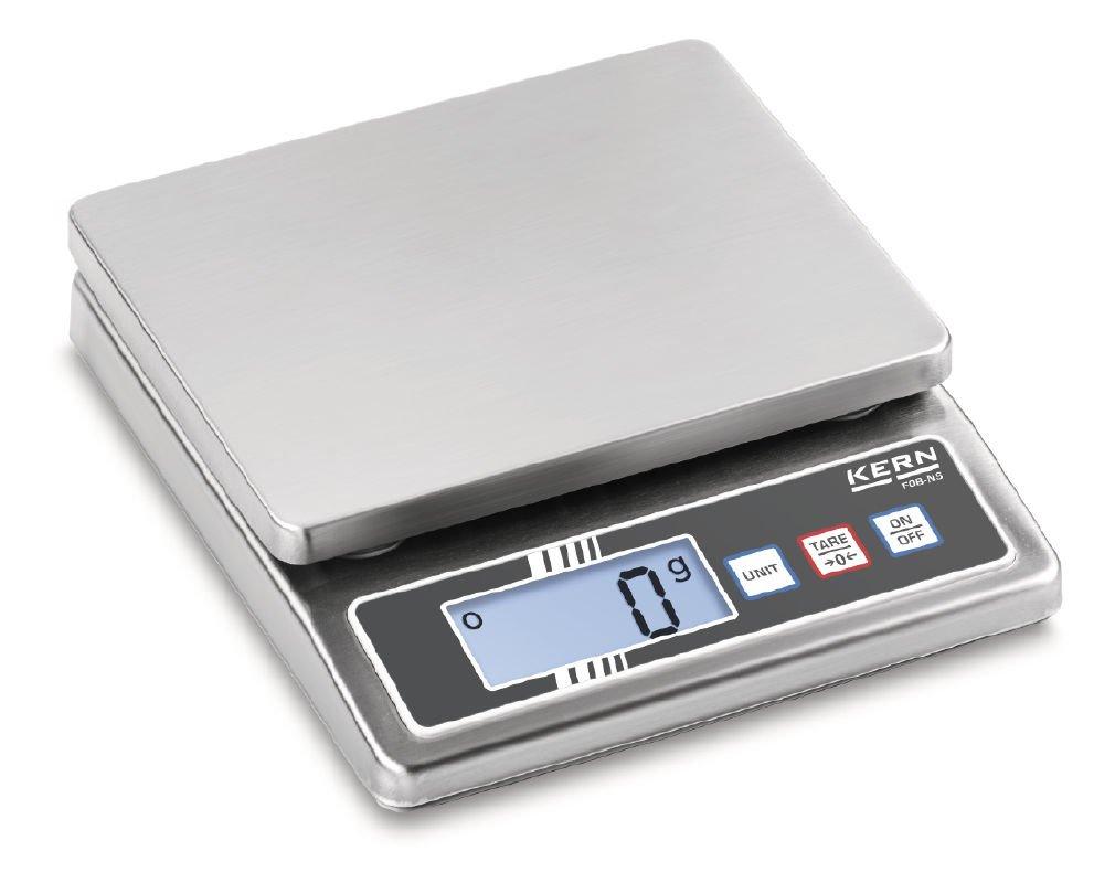 Max Kern Fob 0.5/K 4ns Compatto in Acciaio Inox Scale con protezione da polvere e spruzzi d acqua IP65 d Bilancia da tavolo Portate Divisione : 0,1/G : 0,5/kg