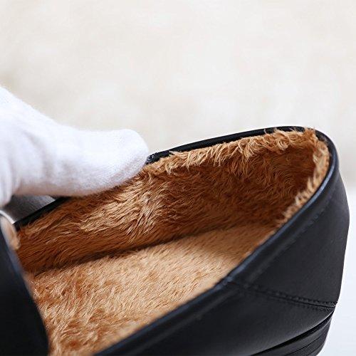 Meeshine Damen Leder Loafer Comfort Schnalle Slip On Schuhe Pelz gefüttert schwarz