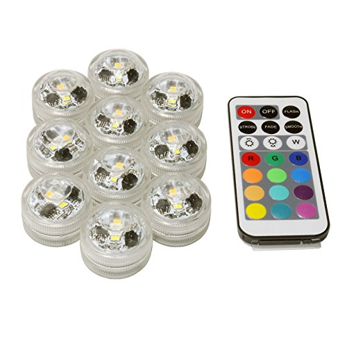 New Upgrade Waterproof Submersible LED Party Tea Mini Lights For Halloween Christmas Decoration Lamp work with remote controller Add warn white and withe color 10PCS (Vice Is Nice Halloween)